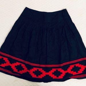 Lauren Ralph Lauren Geometric Pleated Linen Skirt